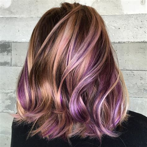Photos Of Colored Hair With High Lights Of Gray | 40 versatile ideas of purple highlights for blonde brown