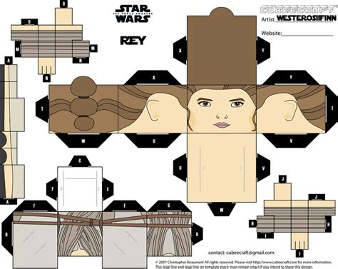 printable foldable star wars toys cubeecraft star wars the force awakens rey by