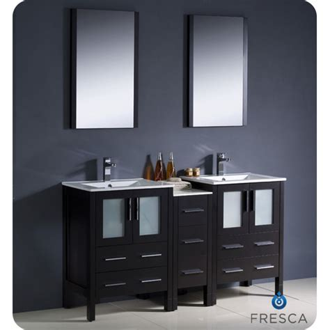 bathroom vanity mirrors for double sink fresca torino 60 quot double modern sink bathroom vanity set