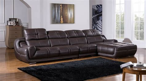 Genuine Leather Sectional Sofa modern contemporary brown genuine leather sectional