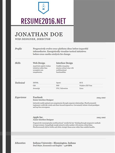 Resume Layout Exles 2016 Best Resume Template 2016 That Wins