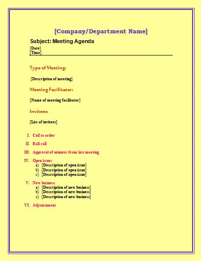 Agenda Template Free Microsoft Word Templates Free Microsoft Word Templates Free Meeting Agenda Template Microsoft Word