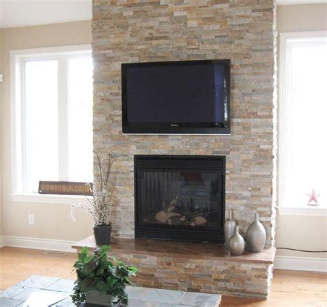 split stone fireplace  tv modern family room