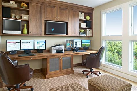 beach style office desk built in desk ideas home office transitional with built in