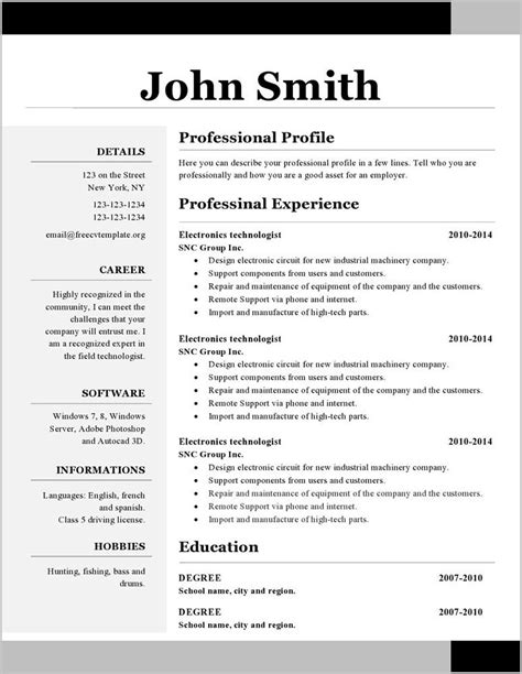 Microsoft Word 2010 Resume Template Resume Template Sle Resume Templates For Microsoft Word 2010