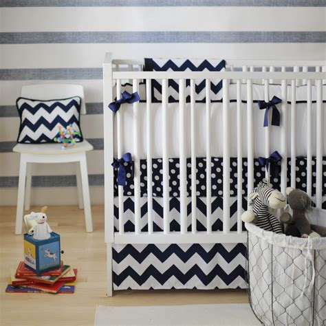 Navy Boy Crib Bedding Zig Zag 3 Crib Bedding Set In Navy Baby Boy Bedding Boys Bedding Sets Crib Bedding For Boys