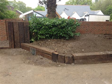 Laying Garden Sleepers by Landscaping Railway Sleepers