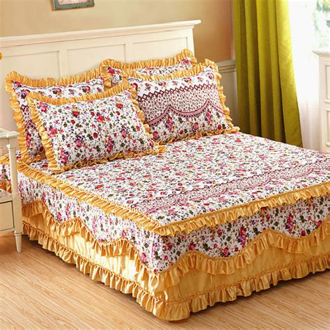 Bed Sheets Bed Sheet Set With Two Pillowcase Bedding Set King Cotton Padded Lace Bed Skirt Mattress
