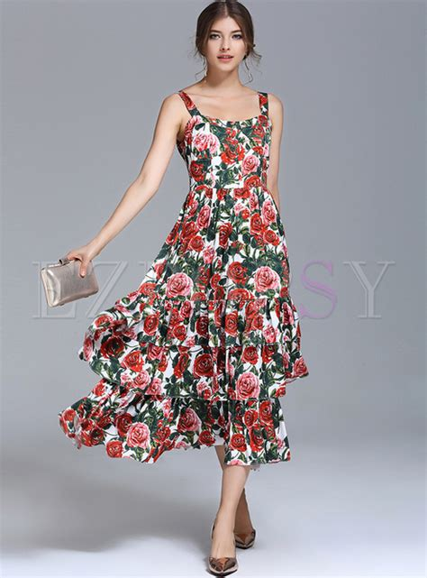Maxi Multilayer by Bohemia Floral Print Multilayer Waist Maxi Dress Ezpopsy