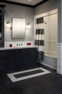there s nothing more classic than a black white bathroom with subway tile and penny rounds