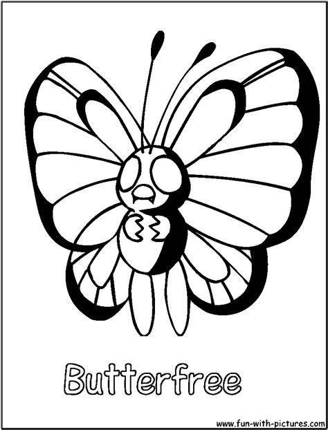 pokemon coloring pages butterfree free pokemon butterfree coloring pages