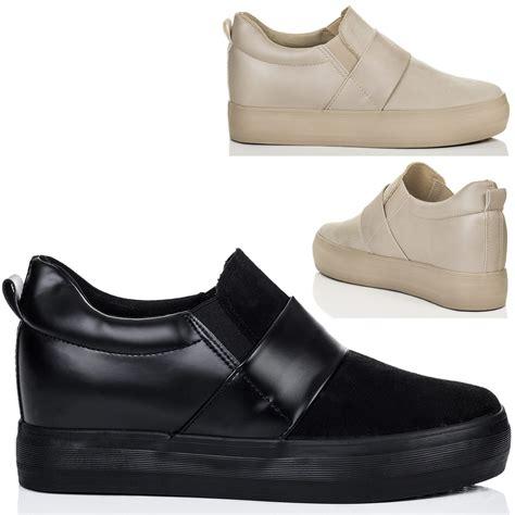 platform loafer shoes womens platform wedge heel loafer shoes sz 3 8 ebay