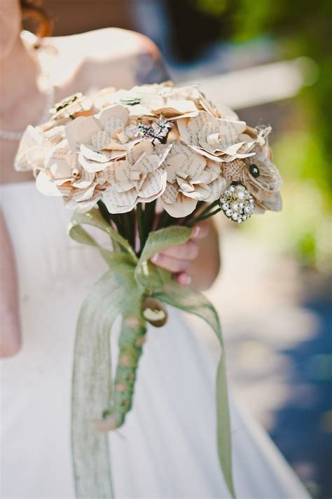 Handmade Bouquet - handmade paper and brooch bouquet flowers from all