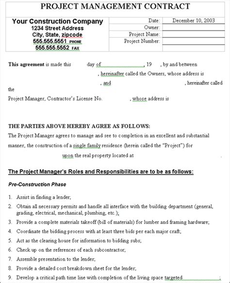 project manager contract template project management contract construction work