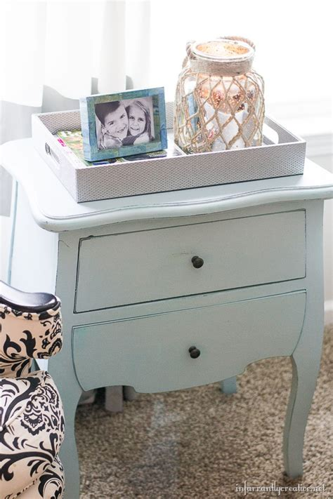 chalk  paint finished ice blue table infarrantly