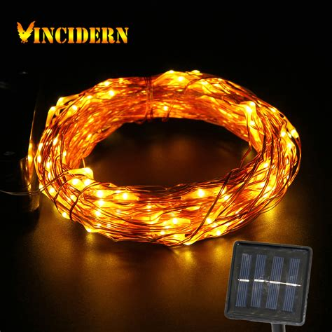 Solar Copper Wire String Light 50ft 150 Led Outdoor Solar Lights Clear Cable