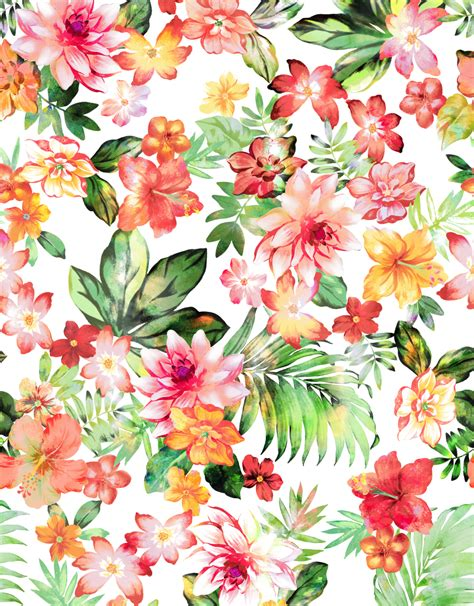 printable tropical flowers floral print with leaves мир акварели pinterest