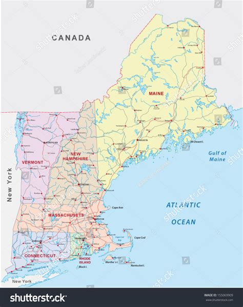 printable road map of new england new england road map stock vector 155069909 shutterstock