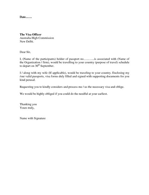 visa covering letter format sle letter for visitor visa the best letter sle