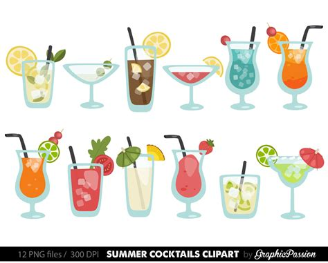 mixed drink clip art sale summer cocktails clipart cocktail clip art summer