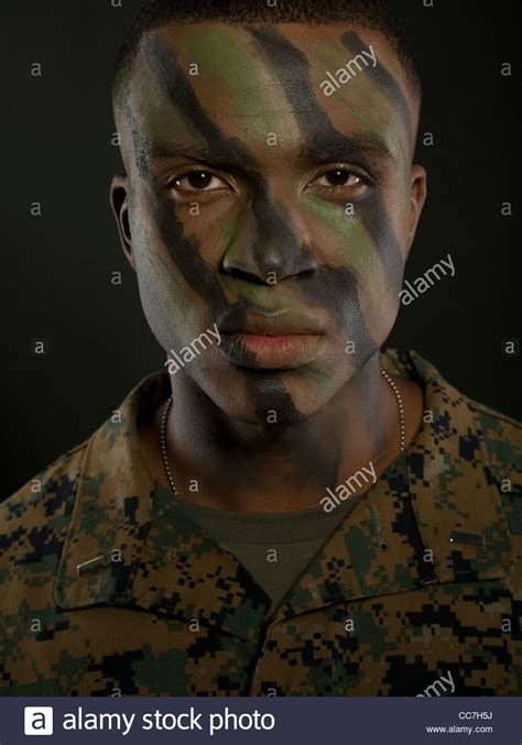 Camouflage Face Paint High Resolution Stock Photography