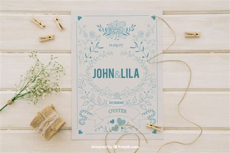 Wedding Invitation Mockup Psd by Mock Up Design With Wedding Invitation And Ornaments Psd