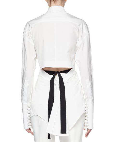 Pompom Blouse 3 lyst proenza schouler sleeve pompom cotton blouse in white