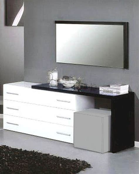 Modern Bedroom Vanity With Mirror by Modern Dresser Mirror In Black White Finish Made In Italy