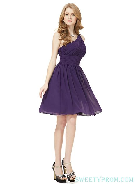 Chiffon Crinkle Short One Shoulder Purple Bridesmaid