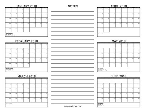 free six month calendar templates 6 month calendar 2018 printable baskan idai co