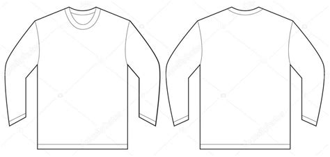 white long sleeve t shirt design template stock vector