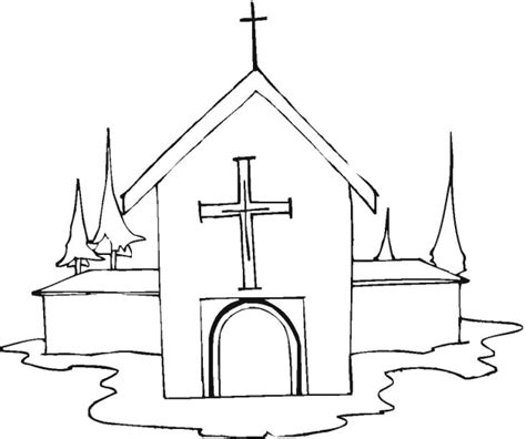church to colour in coloring pages