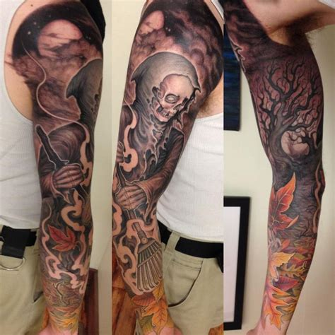 tattoo collage rake reaper collage by matt driscoll tattoos