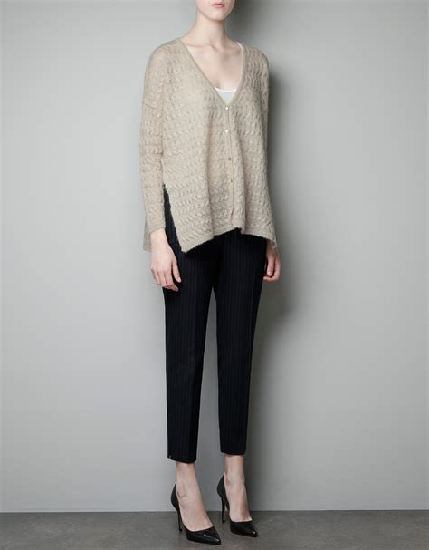 zara knit cardigan zara cable knit cardigan in gray sand lyst