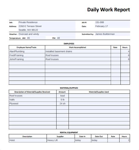 sle daily work report template 16 free documents in pdf