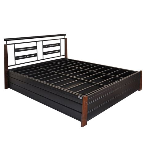 queen size beds with storage fk metal bed with storage queen size by furniturekraft