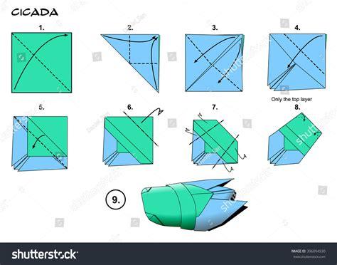 origami cicada origami insect cicada steps stock