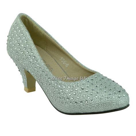 new diamante low heel court slip on