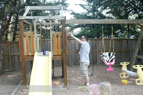 painting a wooden swing set playset makeover crazy wonderful