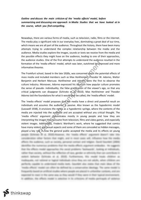 Media Politics Essay by Essay On Media Effects This Essay Received 79 100 D Arts1091 Media Society