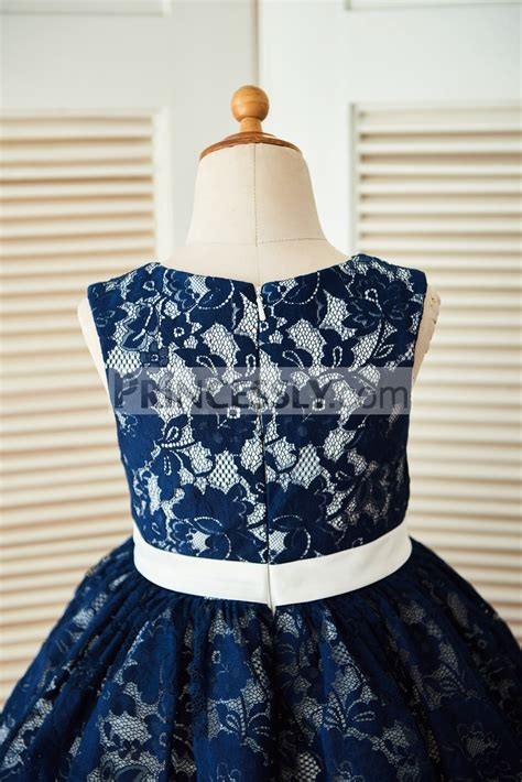 Dress Navy Flower With Belt navy blue lace ivory tulle wedding flower dress with beaded belt avivaly