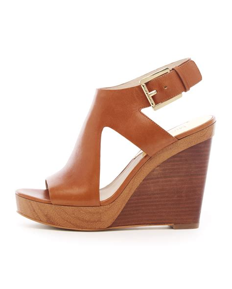michael kors josephine leather wedge sandal in brown lyst