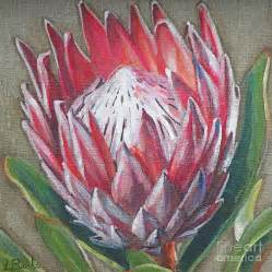 Shower Curtain Flowers Protea Painting By Leigh Banks