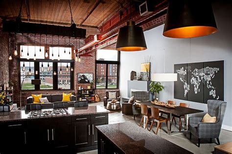 dashing urban loft  contrasting textures  create