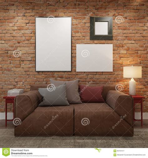 poster mock up on the brick wall stock vector image mock up blank posters at the brick wall of living room