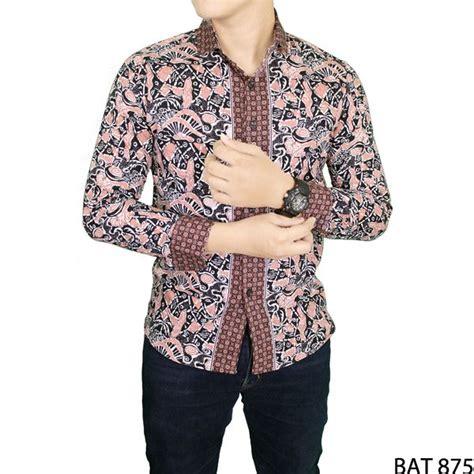 Kemeja Batik Slim Fit Panjang Katun Abu Bat 955 batik pria slim fit panjang katun coklat bat 875 gudang fashion