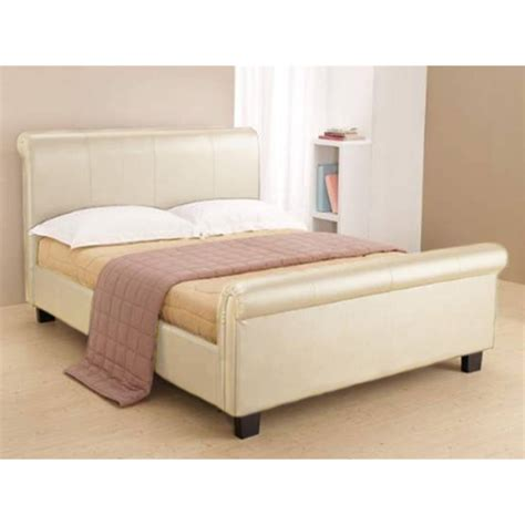 Cream Faux Leather Bed Frame King Size 5ft Free Next Bed Frame Next Day Delivery