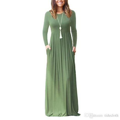 women simple long sleeve pin  loose plain maxi dresses