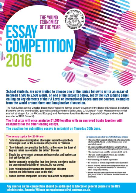 Essay Writing Competition by Res Economics Essay Competition 2016 The Latymer School