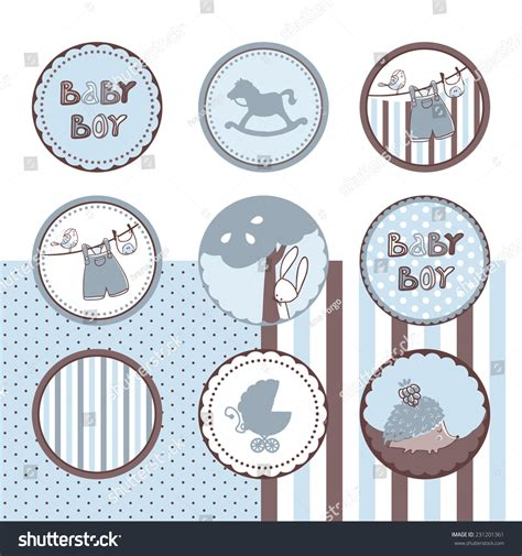 baby boy theme baby boy theme circle labels stock vector 231201361